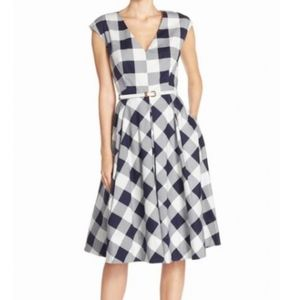 Eliza J. Navy Blue & White Gingham Check Dress 12P